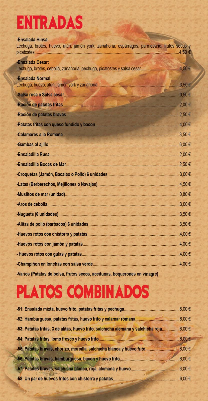 carta de menu - entradas y platos combinados
