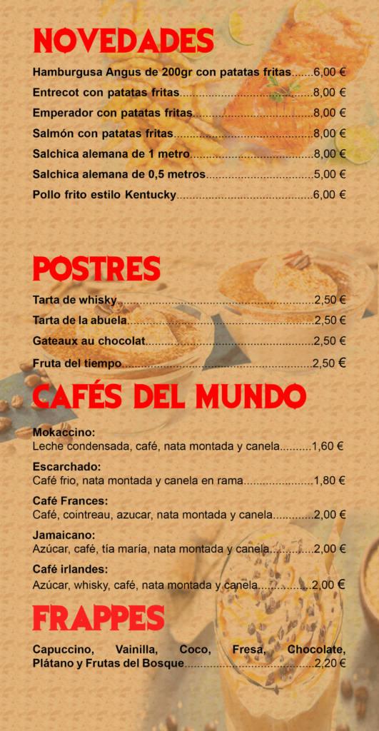 carta de productos - novedades, postres, cafes y frappes