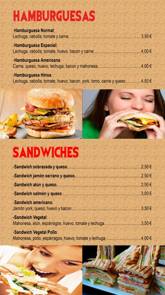 carta de productos - hamburguesas y sandwiches