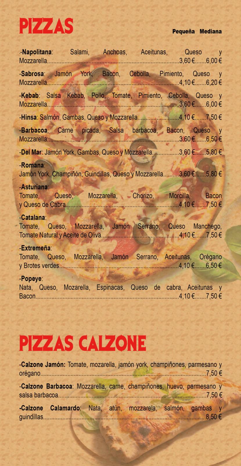 carta de productos - pizzas y pizzas calzone