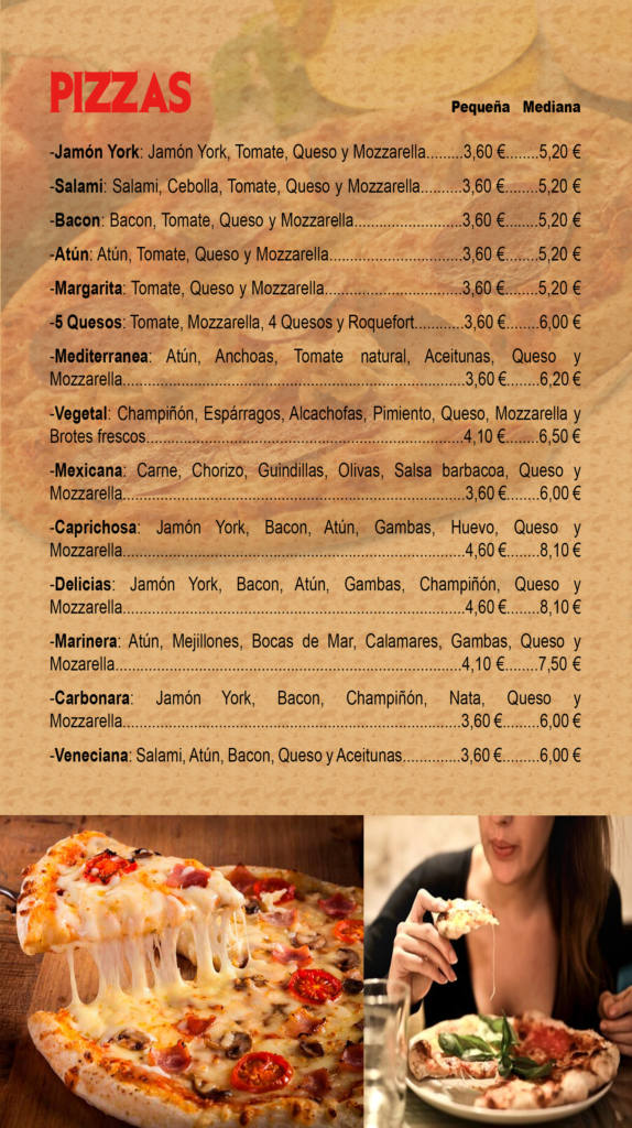 carta de productos - pizzas