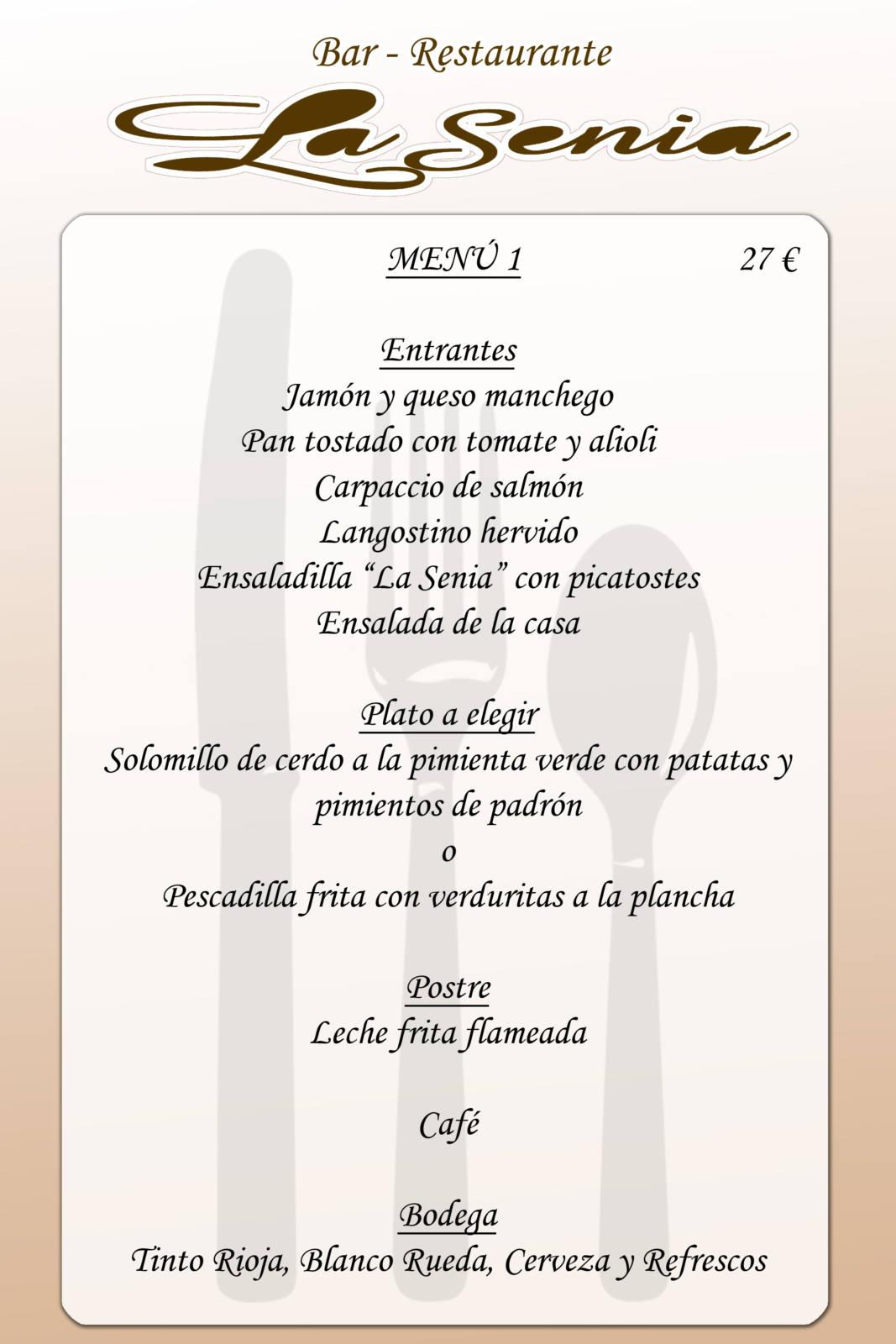 Menú restaurante la Senia - Orihuela