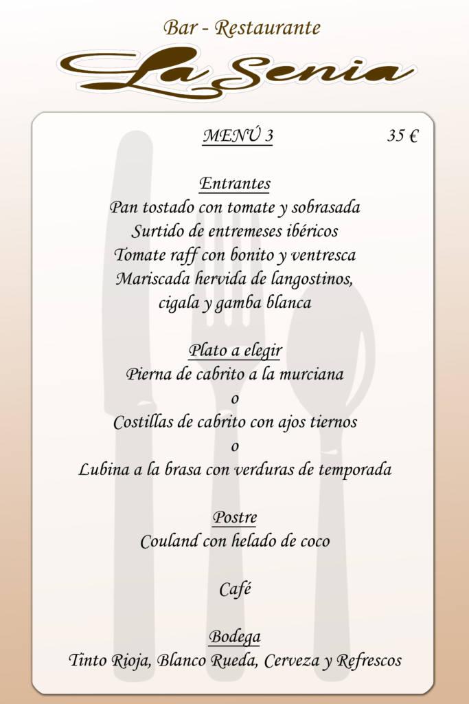 Menú restaurante la Senia - Vega Baja